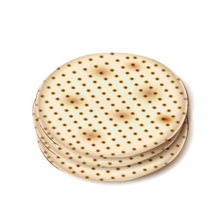 Passover Holiday - Matzah symbol isolated on white background, matzah - Jewish traditional bread for Passover seder ceremony, round matza icon Stock Illustratie