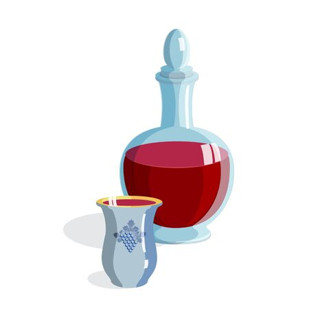 Red Wine bottle and wineglass isolated on white icon - kiddush cup for Jewish Holiday