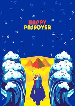 Exodus from Egypt Moses and Jewish people crossed red sea with egyptian pyramids, mountain, blue sky background - Happy Passover card. Illustration