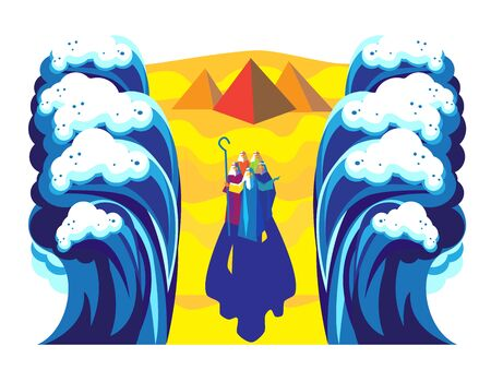 Exodus from Egypt Moses and Jewish people crossed red sea, on Egyptian pyramids, mountain, blue sky background Passover Poster Illustration