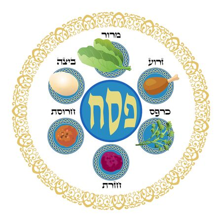 Pesach plate for Passover ritual seder ceremony. Jewish Holiday Hebrew text, food icon logo. Decorative vintage floral frame, six traditional symbols isolated vector Illustration