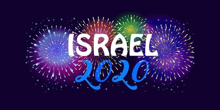2020 Independence Day Israel Anniversary Jewish Holiday Tel-Aviv Fireworks Festival banner vector.