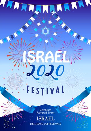 Happy Independence Day Israel Anniversary Jewish Holiday greeting card Tel-Aviv Festival banner