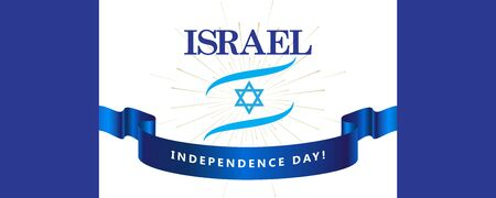 Happy Independence Day Israel Anniversary Jewish Holiday greeting card Tel-Aviv Festival Stock Illustratie