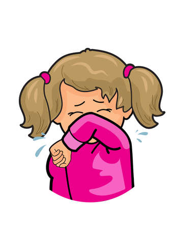 Cute little girl coughing into elbow isolated on white background, social distance, example of sneezing and virus protection 2021 public sneeze, concept cartoon character flu cough elbow icon Vector Illustration