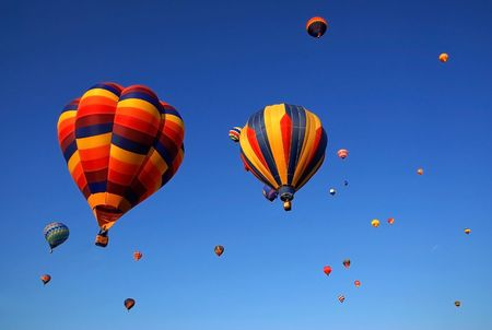 colorful hot air balloons in the blue sky Stock Photo - 3083616