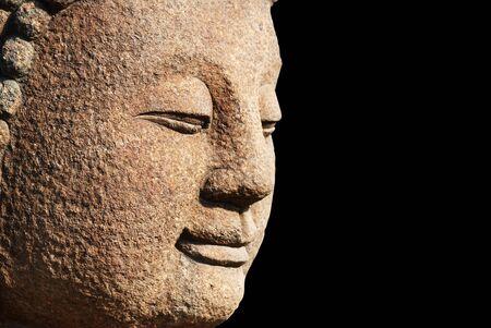 bodhisattva: head of a stone bodhisattva