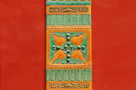 Chinese traditional image on red wall