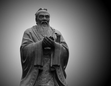 statue of Confucius in the temple of Confucius in Beijing Stock Photo