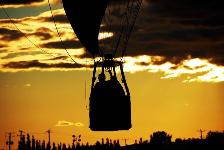 hot air balloon basket in sunset