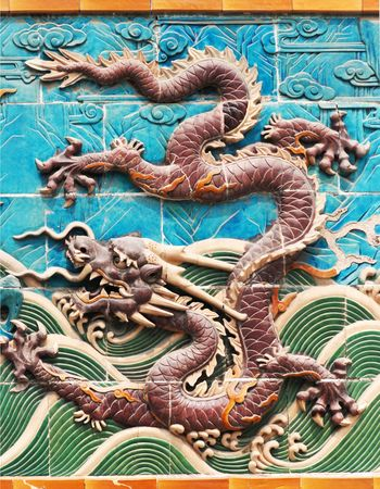 a dragon on dragon wall of Beihai park of Beijing Stock Photo
