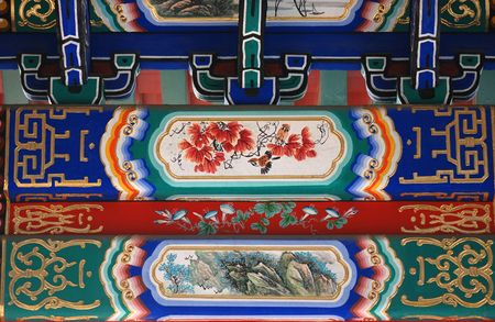 Chinese traditional image on roof of a alcove in Beihai park of Beijing Stock Photo