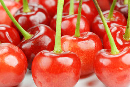 crowded group of ripe cherries Stock Photo