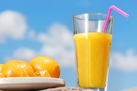 orange juice and orange Stock Photo