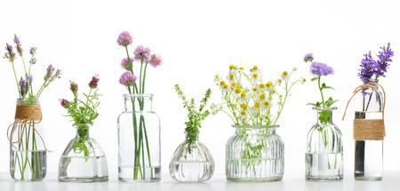 Flasche ätherisches Öl mit Kräutern auf weißem Hintergrund