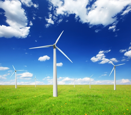 Wind turbines landscape.