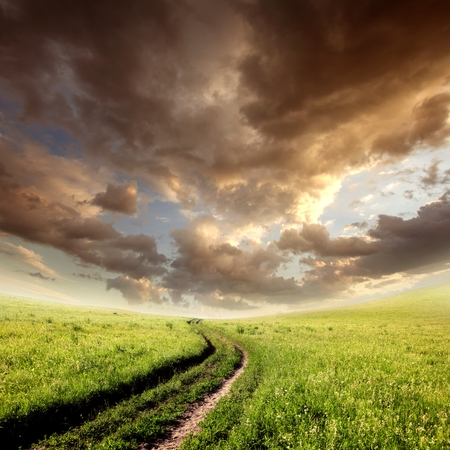 cloudy field with green grass, road and clouds