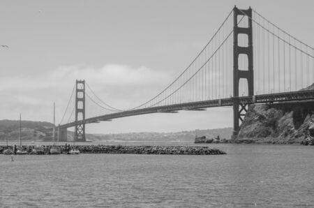 San Francisco, USA, June 27th 2019: Golden Gate Bridge postcard black and white Standard-Bild