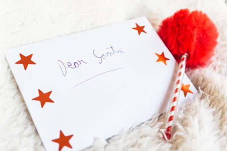Dear Santa, a wish list to Santa Claus written by a child.