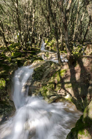 A roaring stream that rushes down the mountain. Ses fonts Ufanes in Mallorca 版權商用圖片 - 159564761