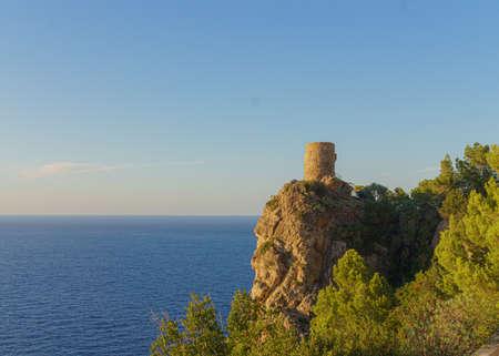 Verger Tower, Banyalbufar. Tower ruins overlooking the mediterranean sea at Majorca.