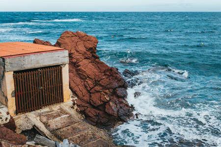 Old Fisherman's hut in port des canonge, majorca. 版權商用圖片