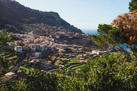 Panoramic view of the Pretty coastal village of Banyalbufar in Majorca.