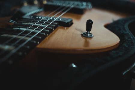 Electric guitar pickup selector, selective focus. 版權商用圖片