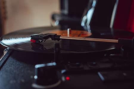 Closeup view headshell of portable record player. 版權商用圖片