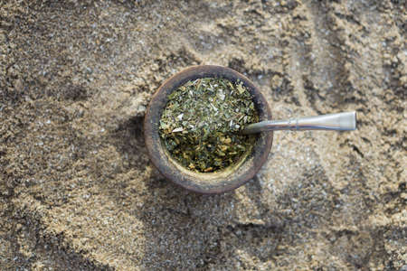 Top view of traditional yerba mate