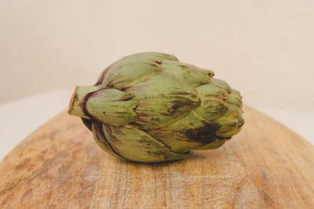 Close up view of an organic and fresh artichoke