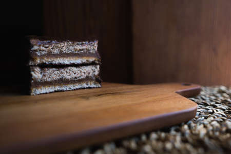 Detail of a chocolate cake with dulce de leche known as an alfajor in Argentina.