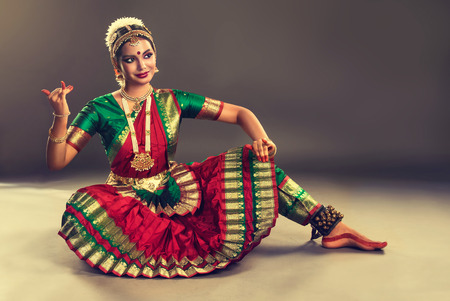 krishna: Beautiful indian girl dancer of Indian classical dance bharatanatyam . Culture and traditions of India.