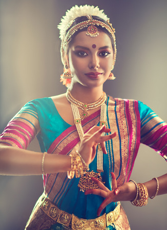 choreographer: Beautiful indian girl dancer of Indian classical dance bharatanatyam . Culture and traditions of India.