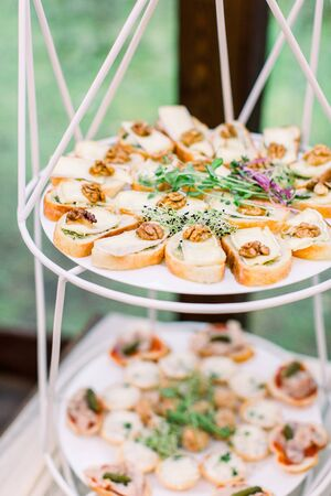 Mini canapes food. Beautiful decorated catering banquet, wooden stands. Snacks and appetizers. Wedding celebration Stockfoto