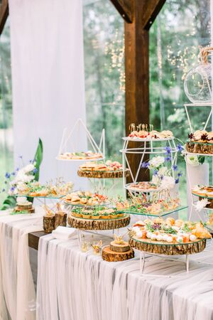 food buffet in restaurant outdoors in rustic eco style, snacks on the glass and wooden stands, concept catering Stockfoto