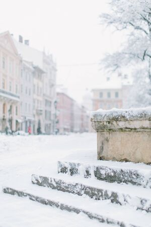 Winter in old city center. Old center of the Lviv, Ukraine. Christmas and New Year concept Stok Fotoğraf