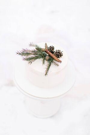 Wedding rustic nude cake with cream cheese and winter decor, pine branch, cones and cinnamone. Winter wedding cake on the snow. Zdjęcie Seryjne