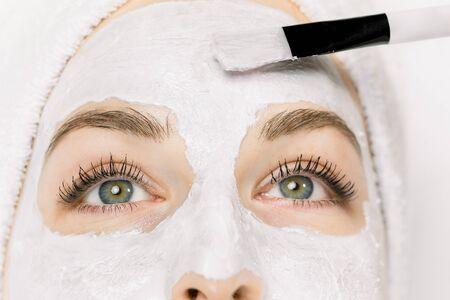 Recadrée en gros plan de la moitié du joli visage féminin et de la brosse d'esthéticienne appliquant un masque facial de boue blanche sur la peau. Thérapie dermatologique et cosmétologique, récréation thermale, soins de la peau. Vue de dessus.