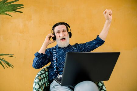 Funny joyful bearded man with earphones sitting in the chair on yellow wall background and using laptop computer, holding his fist clenched and watching film or football with great emotions