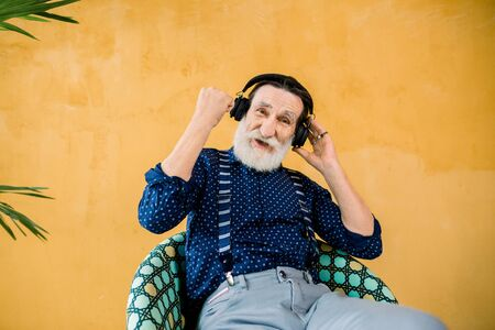 Senior handsome bearded man wearing stylish clothes sitting on the chair near yellow wall with palm tree, holding one fist clenched, looking at camera and enjoying music in earphones