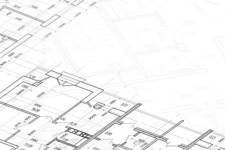 Een deel van abstract architecturaal project op de witte achtergrond Stockfoto