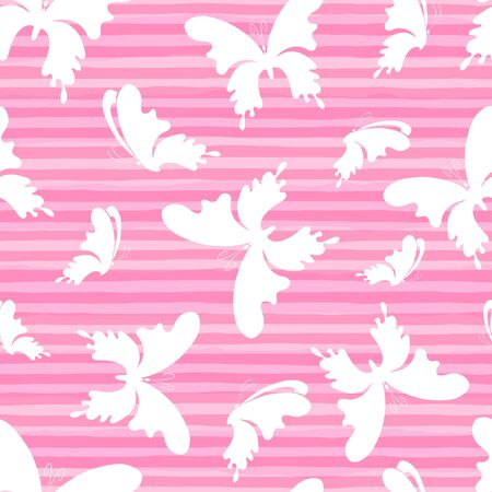 Butterflys on the pink stripes background. Vector Seamless Pattern