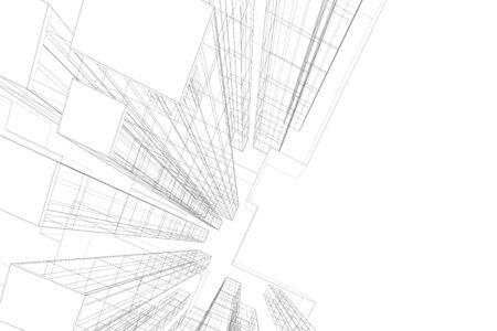 Bâtiment d'architecture 3d. Esquisse de concept. Toile de fond de vecteur