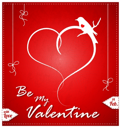 Red Valentine Day Card With Bird Vector
