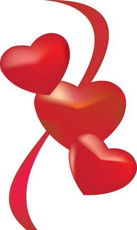 3 lovely hearts Stock Photo