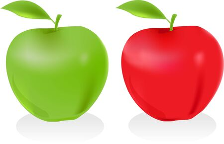 two apples on white background Stock Photo