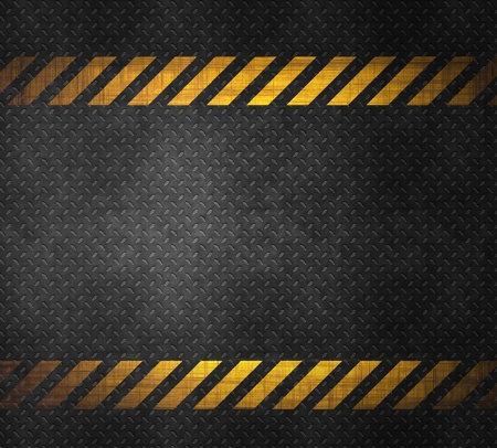 Metal background with caution tape