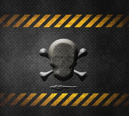 Grunge metal background with embossed skull and bones photo
