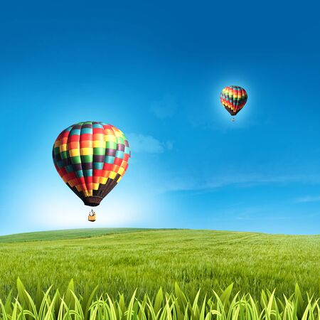 Two air balloon in blue sky with green grass